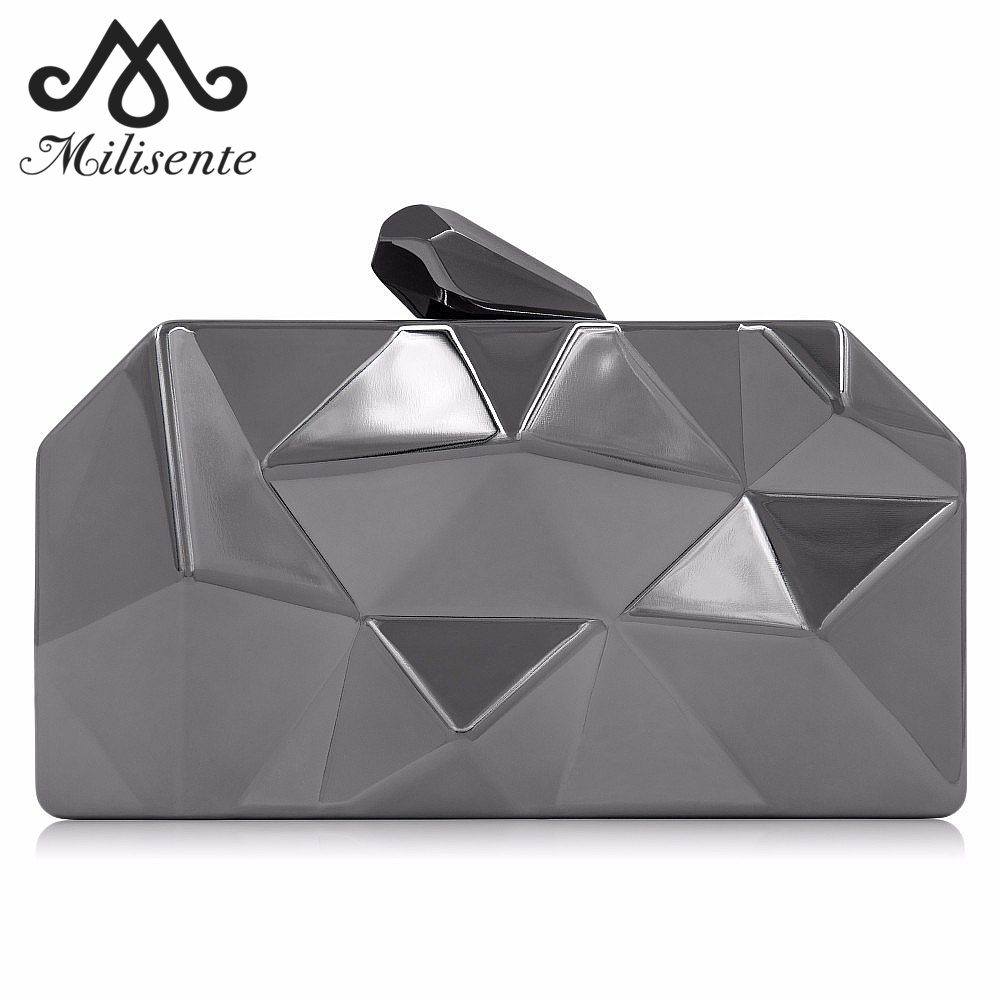 Milisente Luxury Box Bag para Mujeres Diseñador Hexagonal Metal Gold Mini Clutch Girls Casual Bolsa de Hombro Damas Bolsos de Calidad Superior