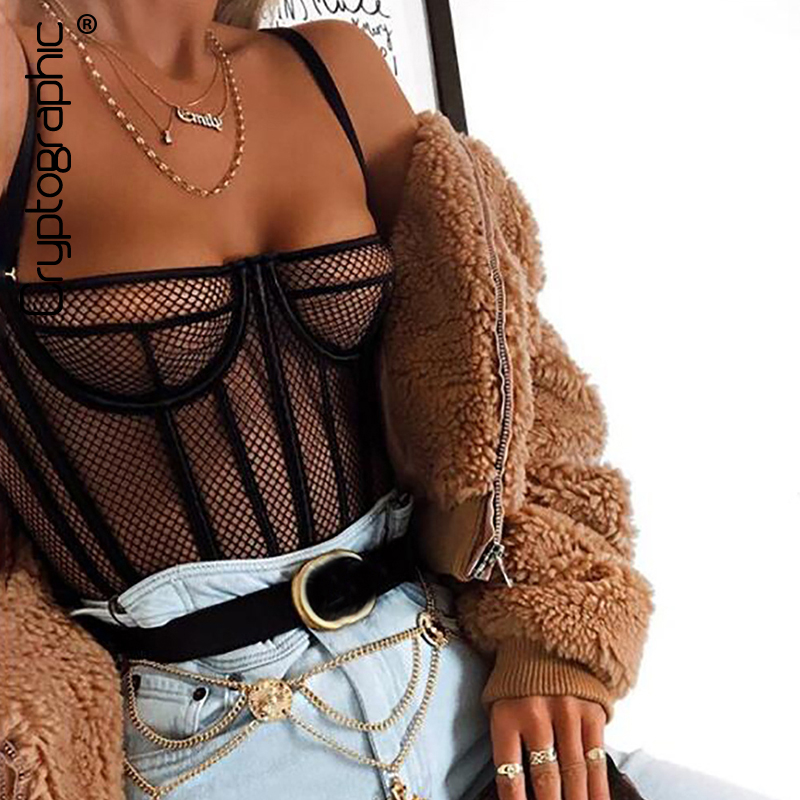 Cryptographic Black Fishnet Mesh Sheer Bodysuit for Women Hollow Out Sexy Body Jumpsuits Fashion One Piece Bralette Teddy 2019