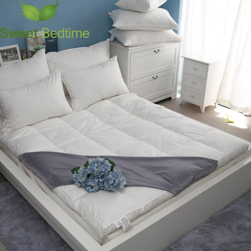 Роскошный белый гусиный пуховый матрас, супер мягкий матрас, наполнитель 750, мощный пуховый матрас, покрытый татами, коврик для кровати, скла