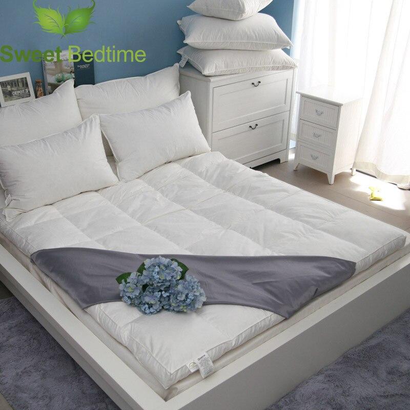 Surmatelas en duvet d'oie blanc de luxe surmatelas super doux 750 couverture de matelas de remplissage de puissance vers le bas tapis de tatami lit tapis pliant