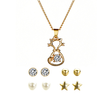 Trendy Crystal Jewelry Sets for Women gift Luxury Women Anniversary Engagement Gift Set Earrings Pendant Necklace Jewelry Set недорого