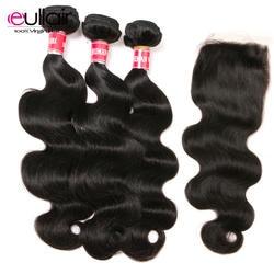 """Eullair волосы малазийские тела волнистые волосы плетение пучков с закрытием 4 шт. человеческие волосы пучки с закрытием 8-26 """"Наращивание волос"""