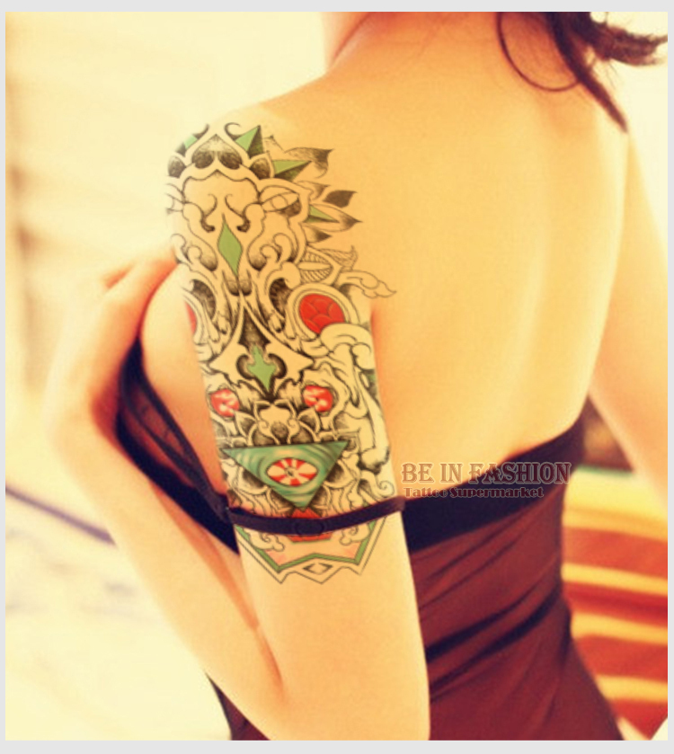 1 Hoja Cool árabe Tribu Tatuaje Temporal Pegatina Para Hombro Brazo