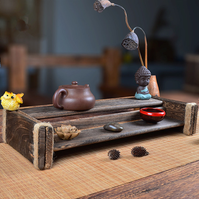 Solid Wood Kong Fu Tea Cup Holder Eco Natural Wooden Coffee Table