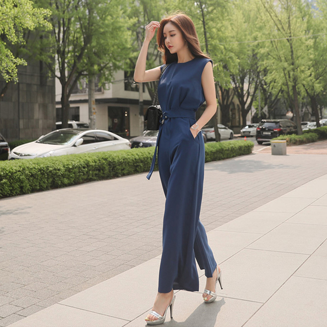 dc2b6cf15f0d Sapphire Summer Jumpsuit Women O-Neck Sleeveless Tie Belt Waist Caysuit  High Waist Wide Leg Pants Office Work Formal Jumpsuits