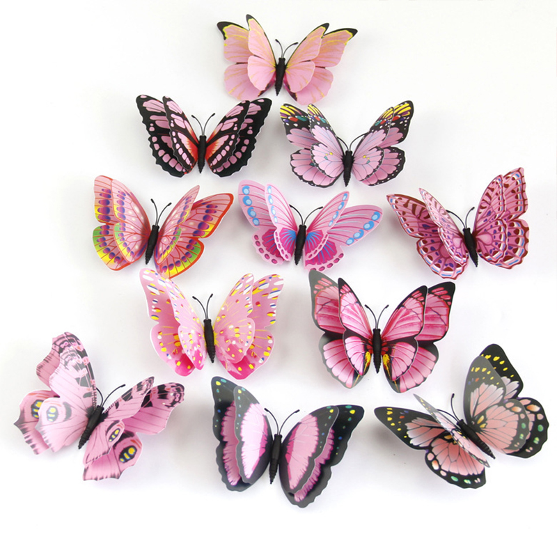 12pcs/set Multicolor Double Layer 3D Butterfly Wall Sticker Magnet PVC Butterflies Party Kids Bedroom Fridge Decoration 10 Color(China)