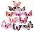 12 шт./компл. многоцветная двухслойная 3D Наклейка на стену с бабочкой магнит ПВХ бабочки для вечеринки Дети Спальня украшение на холодильник ...