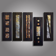 5 Piece Abstract Picture Geometric Black Oil Painting Hand Painted Canvas Paintings Acrylic Wallpaper Modern Home Decor Panel