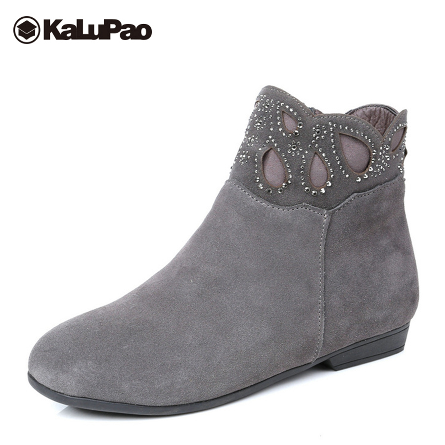 Kalupao genuine leather snow boots women frosted black ankle boots for women platform flat warm winter snow boots waterproof platform bowkont flocking snow boots page 9