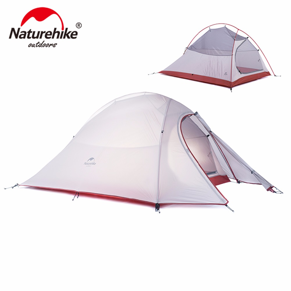 Naturehike CloudUp 2 person camping tent 20D silicone ultralight outdoor hiking 4 season tents camping equipment with footprint 995g camping inner tent ultralight 3 4 person outdoor 20d nylon sides silicon coating rodless pyramid large tent campin 3 season