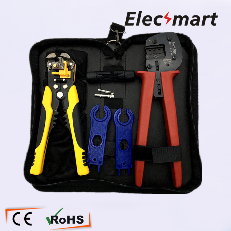 A-2546 Crimping Plier Automatic Wire Stripper Set with MC4 Connector MC4 Wrench pneumatic crimping tools plier with 15 sets of dies