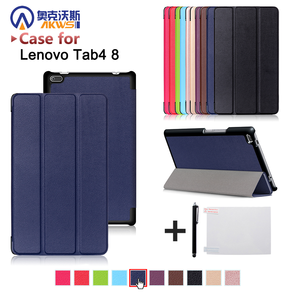 cover case for Lenovo Tab 4 8inch tablet TB-8504F/8504N 8 inch Tablet 2017 release with stand PU Leather Protective Case ultra thin slim stand litchi grain pu leather skin case with keyboard station cover for lenovo ideapad miix 320 10 1 tablet pc