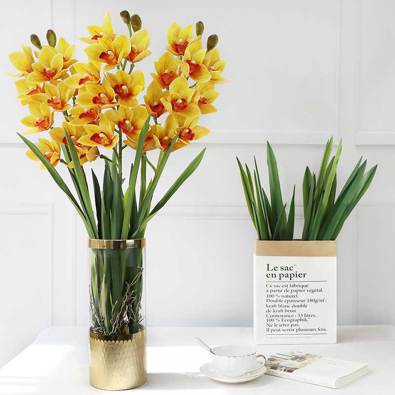 Real Touch Kunstmatige Orchidee Blad Bloemstuk Diy Bron Materiaal Art