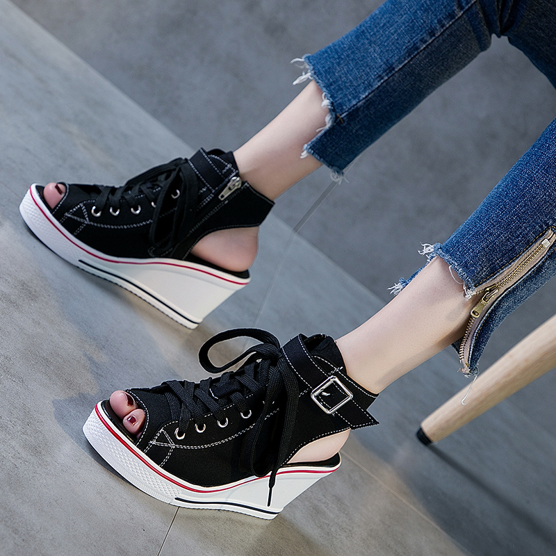 2019 Woman Summer Wedges Canvas Shoes Peep Toe Breathable Casual Shoes Platform Casual High Tops Fashion shoes Plus Size2019 Woman Summer Wedges Canvas Shoes Peep Toe Breathable Casual Shoes Platform Casual High Tops Fashion shoes Plus Size