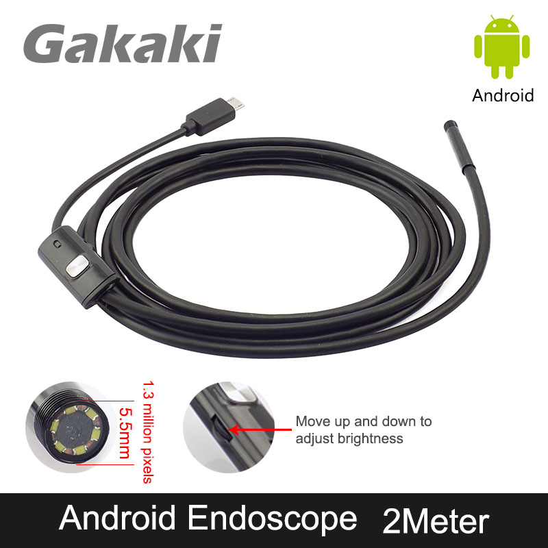 Gakaki 5.5mm Lens 2M Android USB Endoscope Camera USB Endoscoop Snake Pipe Tube Inspection Android Phone OTG Borescope Camera 2018 newest 4 9mm lens medical endoscope camera for otg android phone pc usb borescope inspection otoscope camera for ear nose