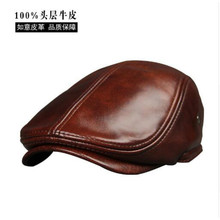 2017 New Arrival Genuine Cowhide Leather Hats Men's  Adult  Leather Cap Spring Autumn Winter Cotton Visor Caps  B-7232 2018 new autumn and winter popular fashion wing tote genuine leather trapeze women handbags casual big volume shopping bag