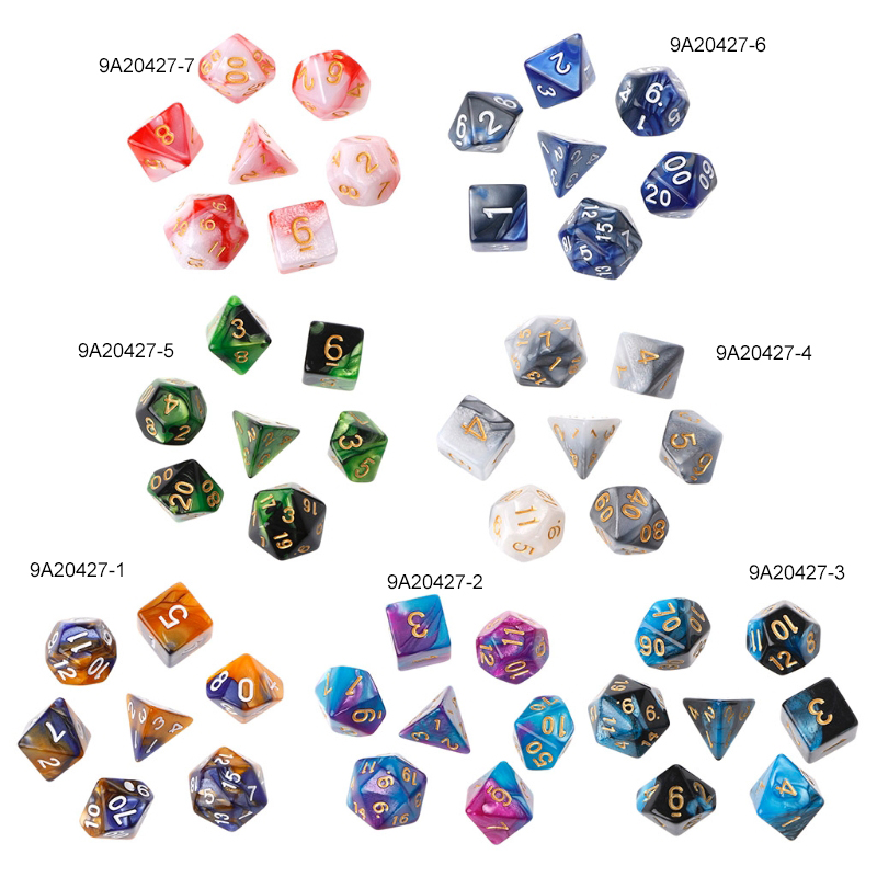 7pcs/Set Acrylic Polyhedral Dice For TRPG Board Game Dungeons And Dragons D4-D20 dropshipping