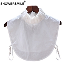 SHOWERSMILE Detachable Ruffle Collar Women White Pleated Faux Cotton Female Fashion Solid Removable Clothes Accessories