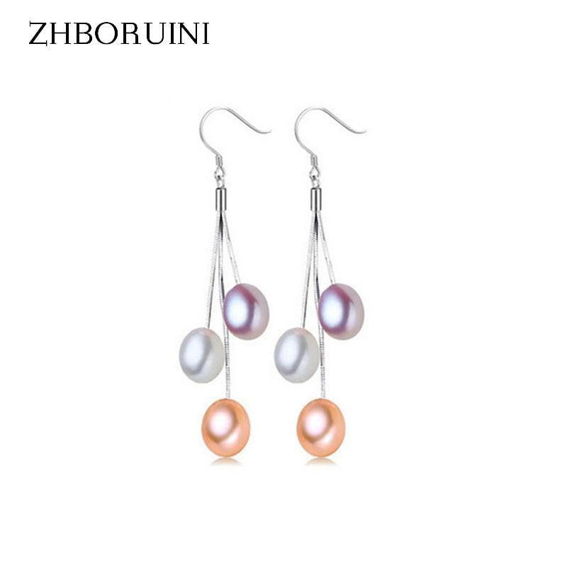 ZHBORUINI 2017 Pearl Earrings Natural Freshwater Pearl Tassels Pearl Jewelry Drop Earrings 925 Sterling Silver Jewelry For Woman faux pearl ball drop earrings