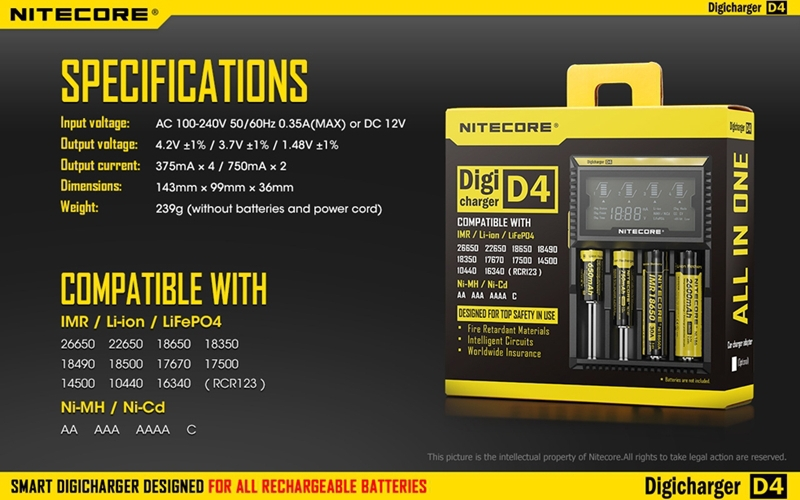 100 Original Nitecore D4 Digicharger LCD Intelligent Circuitry Global Insurance li ion 18650 14500 16340 26650