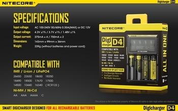 100% Original Nitecore D4 Digicharger LCD Intelligent Circuitry Global Insurance li-ion 18650 14500 16340 26650 Charger Battery