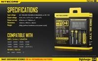 Oferta 100% Original Nitecore D4 Digicharger inteligente LCD circuitos Global de seguros Li-Ion 18650, 14500, 16340, 26650 cargador de batería