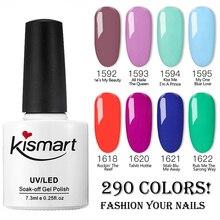 3Pcs/lot 7.3ML 2019 Brand New Kismart Soak Off UV Nail Gel Polish 290Fashion Colors Available For Salon