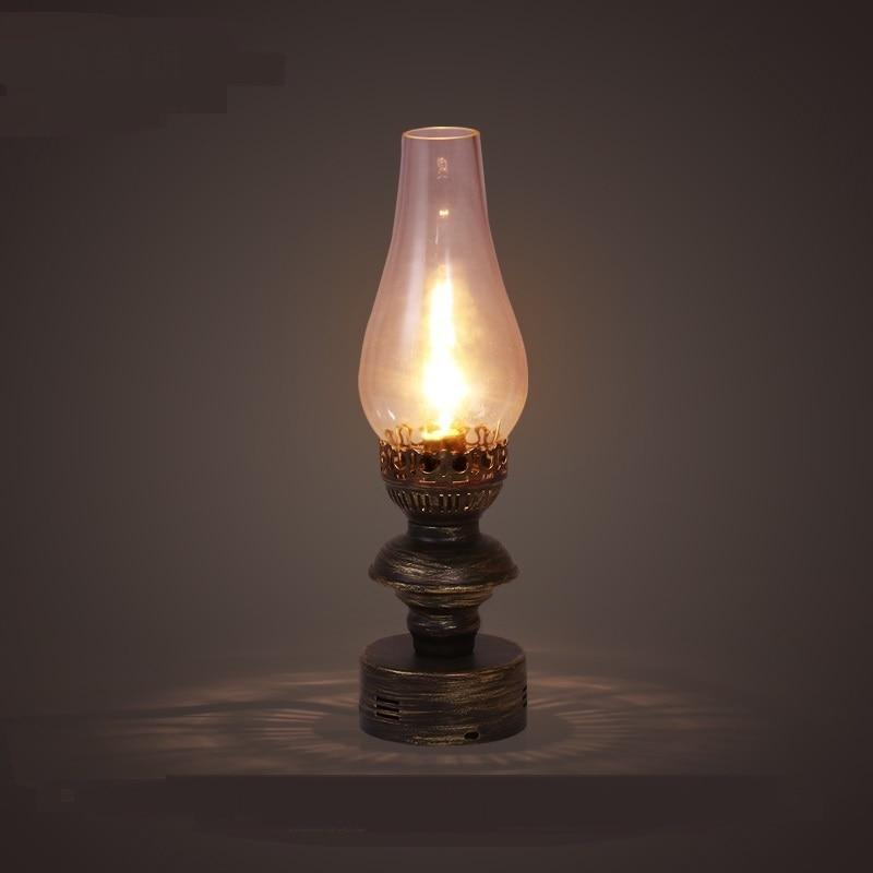 retro nostalgia LOFT kerosene table lamp rural industrial wind living room bedroom iron glass hood desk lamps ZA119051