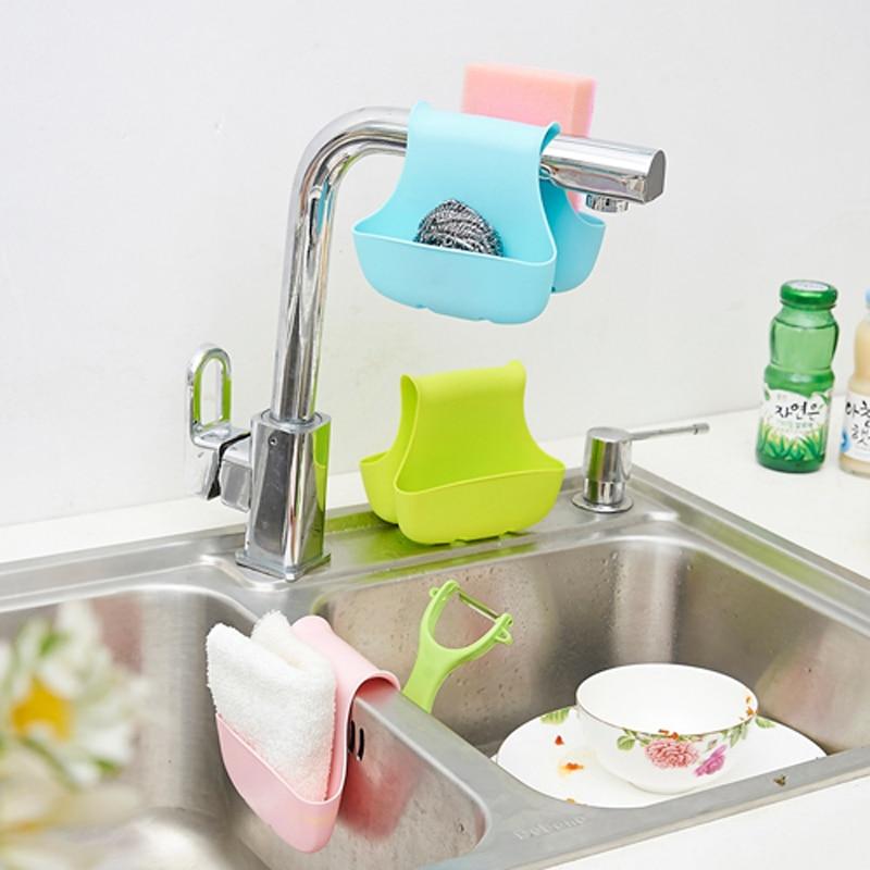 Doble fregadero lateral, esponja, porta, vajilla, secado, estante, - Organización y almacenamiento en la casa