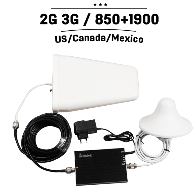 T-mobile AT&T Bell Rogers CDMA GSM 850 PCS 1900 65dB Gain Cell Phone Signal Booster Amplifier Mobile Cellular Repeater +Antenna