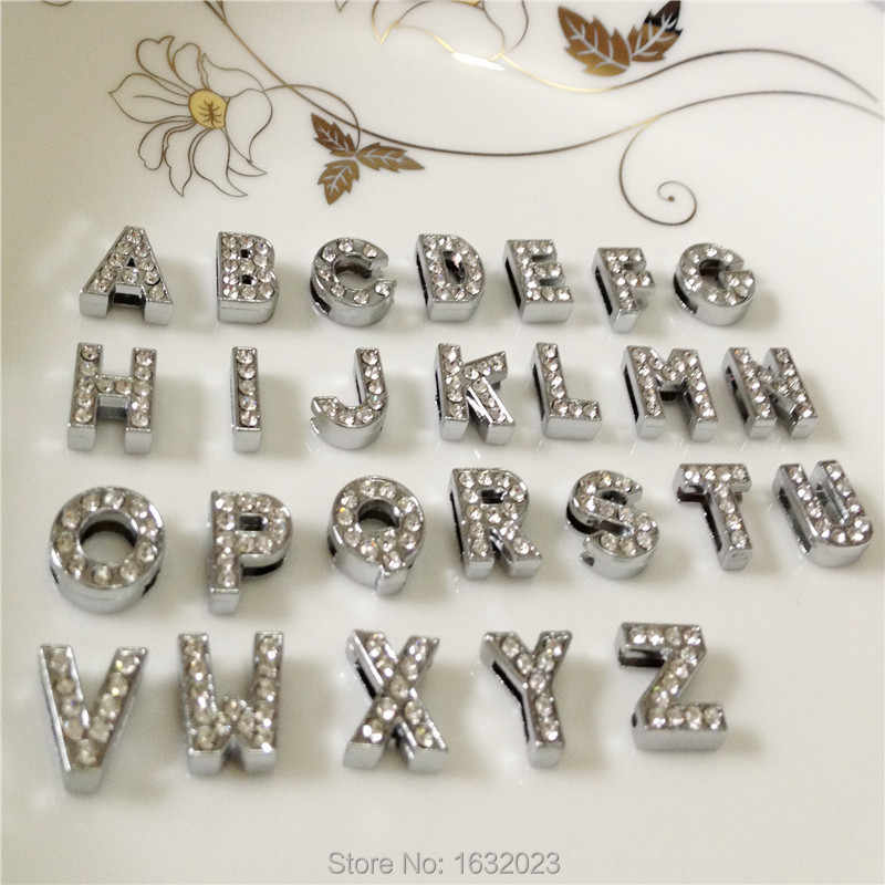 Caliente 52 unids/lote 10 MM diamantes de imitación diapositiva cartas A-Z alfabeto DIY Slide Charms pulseras correas collares SL02