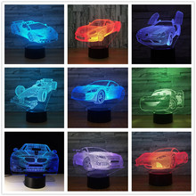 Your Racing Car 3D 7 Color Lamp Visual Led Night Lights For Kids Touch Usb Table Lampara Lampe 3d led light Formula 1 sport car
