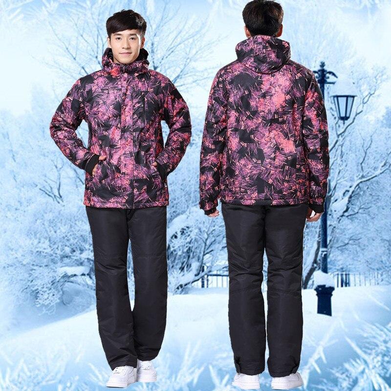Prix pour 2016 Sauvage Neige De Ski Pas Cher Costume Coloré Veste de Ski Rembourré Coton D'hiver Imperméables Snowboard Veste Pantalon Thermique-30 Degrés