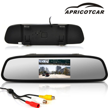 APRICOTCAR Car Mirror Monitor 4.3 Inch HD Color Digital TFT LCD Display Rearview Mirror Reversing Image Bidirectional AV Input