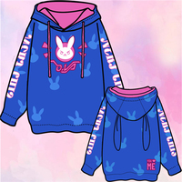 2017 New Clothes Anime Game OW Cute DVA Hana Song Rabbit Cosplay Coat Blue Pullover Hoodie