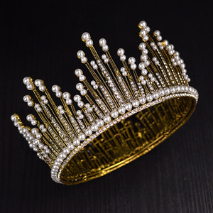 Image 5 - Vintage Gold Silver Color Luxury Rhinestone Pearl Large Tiara Queen Round Big Crown For Bride Wedding Hair Jewelry Accessories