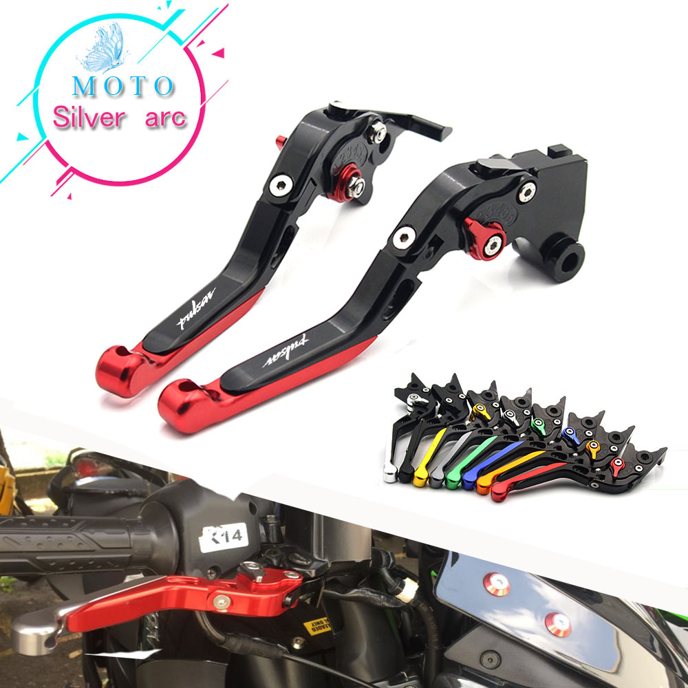 Laser Logo CNC Motorcycle Adjustable Folding Extendable Brake Clutch Lever FOR Bajaj Pulsar 200 NS/200 <font><b>RS</b></font>/200 AS Dominar 400 image