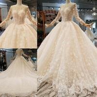 Custom Made 2019 Vestido De Casamento QUEEN BRIDAL Elegant Wedding Dresses Beaded Pearls Vintage Wedding Gown WD224