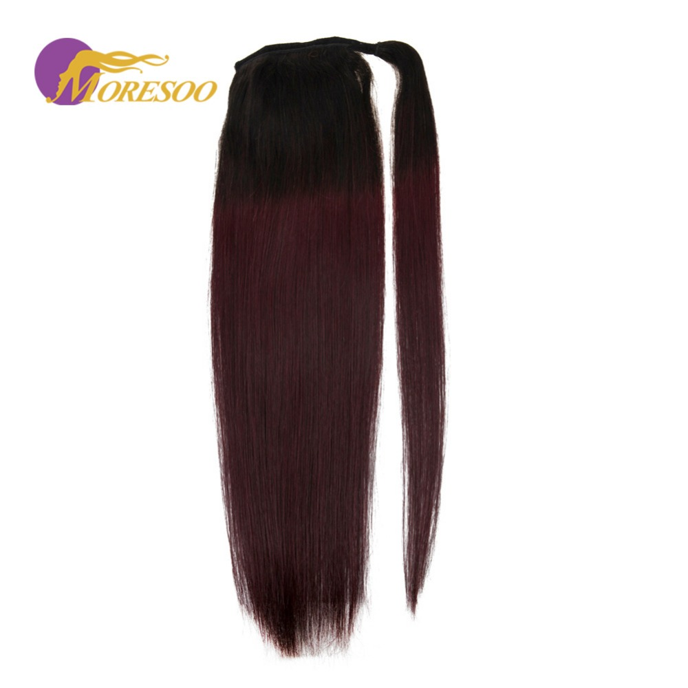 Moresoo Machine Remy Human Hair Ponytail Wrap Off Black #1B Ombre To 99j Wine Red Hair Extensions Ponytail Straight 100g
