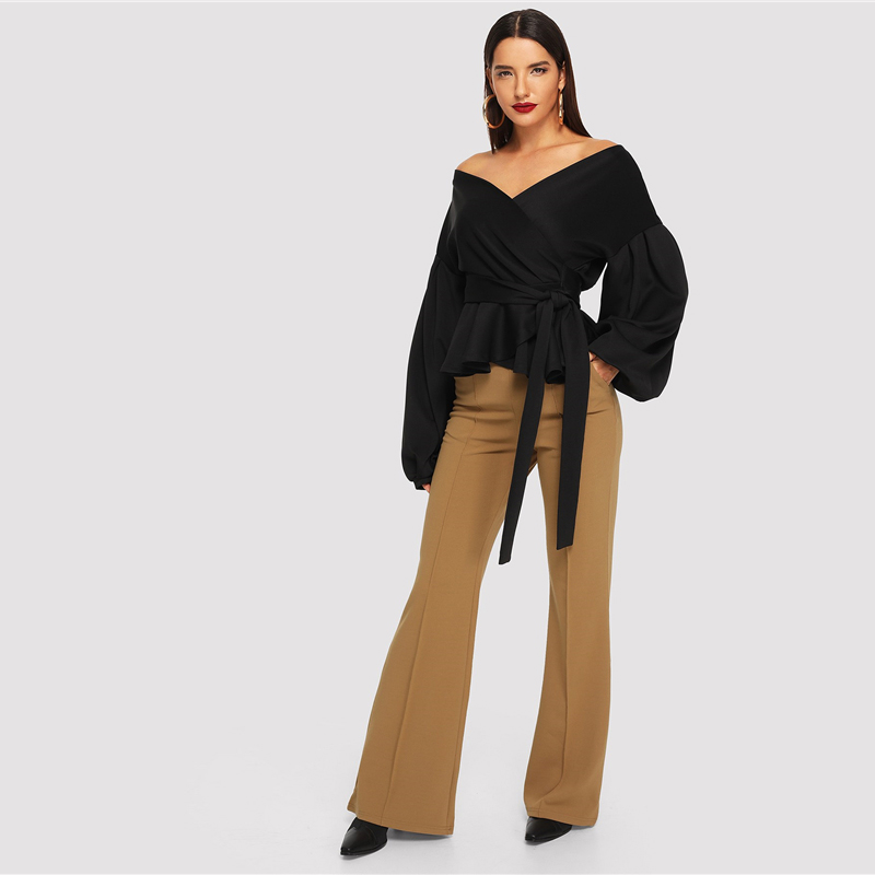 SHEIN White Office Lady Elegant Lantern Sleeve Surplice Peplum Off the Shoulder Solid Blouse Autumn Sexy Women Tops And Blouses 17