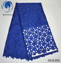 Beautifical Royal blue Cotton lace fabric Fashion Eyelet Laser Cutting 2017 Latest arrival african swiss voile 4R263