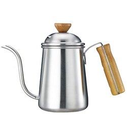 650 ml col de cygne bec verser sur café bouilloire théière épaississement acier inoxydable corps bois poignée longue bouche Drinkware
