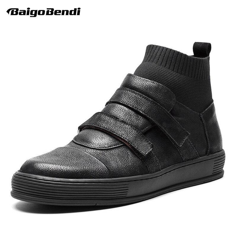 Laço Homem De Menino Meia Black Sapatos Sapatilhas Moda Ankle Gancho Casuais Genuíno Homens Inverno Couro Arrival New Botas vSA0v