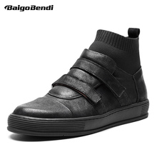New Arrival Men Winter Boots Genuine Leather Hook Loop Ankle Boots Man Casual Boots Boy Trendy Sock Boots Sneakers Shoes spring men casual shoes winter male luxury trainers adult ankle boots genuine leather hook loop solid suede flatform sneakers