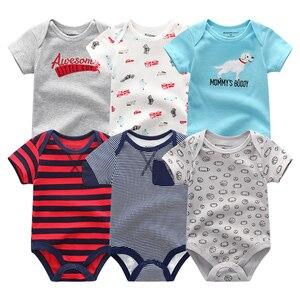 Image 2 - Супер хлопковый боди для новорожденных, 6 шт./лот, комбинезоны с коротким рукавом для мальчиков и девочек