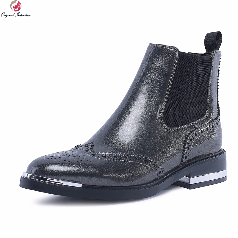 Original Intention New Stylish Women Ankle Boots Real Leather Round Toe Square Heels Green Brown Gray Shoes Woman US Size 4-10 original intention new women ankle boots cow leather round toe square heels boots popular black brown shoes women us size 3 10 5
