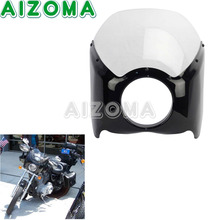 5.75″ Motorcycles Headlight Fairing Cover Clear Windshield Headlamp Front Cowl For Harley Road King Sportster Cafe Racer  Black