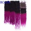 Два 2 Tone Ombre Наращивание Волос С Закрытием Дешевые Перуанская Человека волосы 1B Фиолетовый Глубокая Волна Вьющиеся Волосы Переплетения С Закрытием Кружева