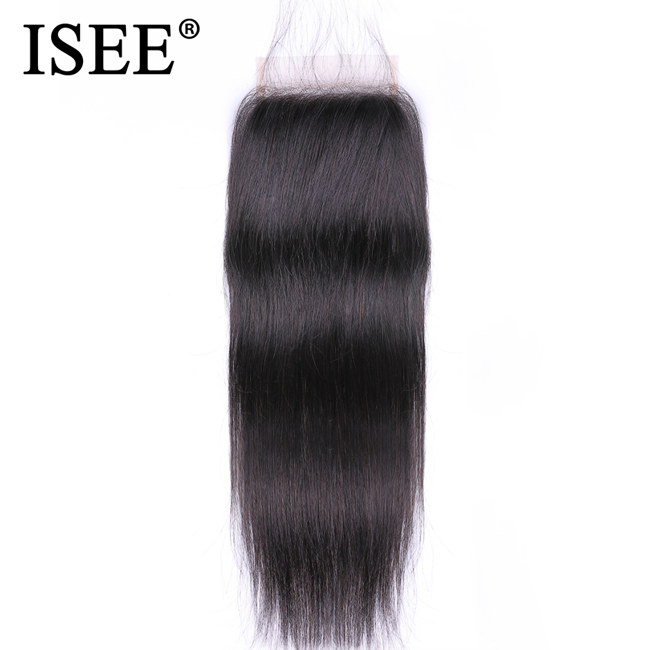 ISEE HAIR Malaysian Straight Hair Closure Free Part Remy Human Hair 4 4 Free Shipping Medium