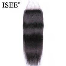 """ISEE شعر ماليزي مستقيم الشعر إغلاق جزء مجانا ريمي الإنسان الشعر 4 """"* 4"""" شحن مجاني السويسري البني المتوسط الدانتيل إغلاق"""